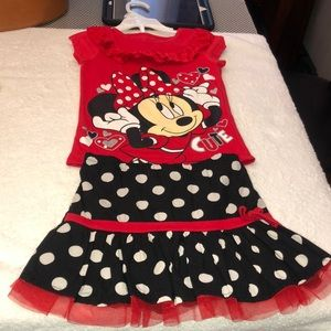 Girls Minnie Mouse skirt and shirt